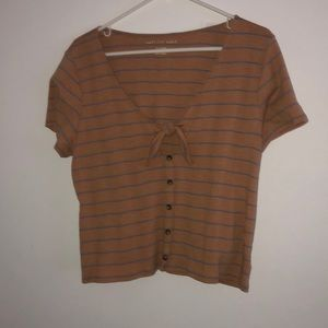 AEO Gold and blue tye button down crop top